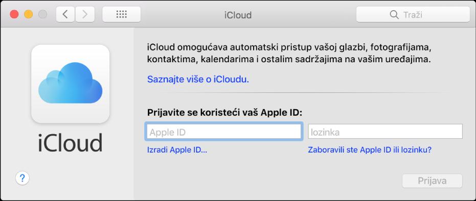 iCloud postavke, spremne za unos imena i lozinke za Apple ID.