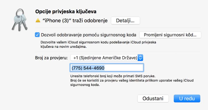 Dijaloški okvir Opcije iCloud privjeska ključeva s nazivom uređaja koji traži odobrenje i tipka Detalji pokraj njega.