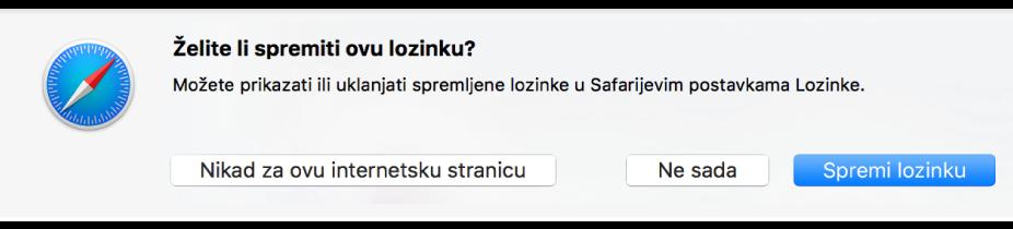 Dijaloški okvir koji vas pita želite li spremiti lozinku za web stranicu.