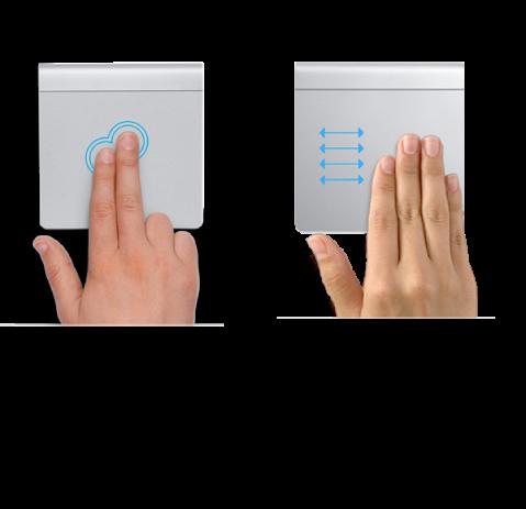 Primjeri gesti dodirne površine za uvećavanje i smanjivanje prikaza web stranice i prebacivanje među aplikacijama u prikazu preko cijelog zaslona.