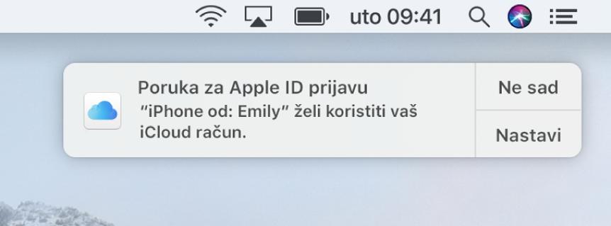 Obavijest da uređaj traži odobrenje za iCloud privjesak ključeva.