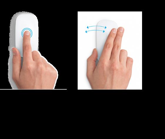 Primjeri gesti miša za uvećavanje i smanjivanje prikaza web stranice i prebacivanje među aplikacijama u prikazu preko cijelog zaslona.