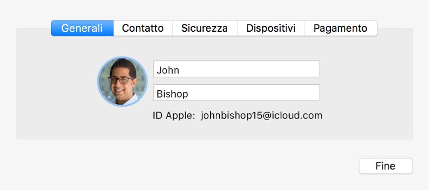 """La finestra di dialogo """"Dettagli account"""" delle preferenze iCloud"""