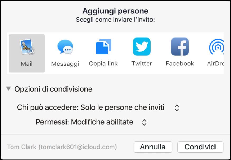 """Finestra """"Aggiungi persone"""" che mostra le app che puoi usare per inviare l'invito e le opzioni per condividere documenti."""