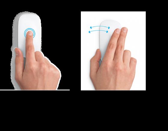 マウスジェスチャの例。Web ページを拡大/縮小したり、フルスクリーンアプリケーションを切り替えたりします。