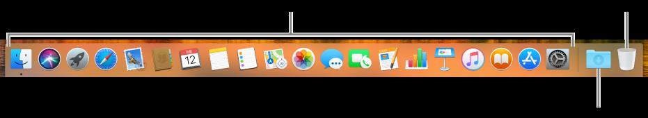 앱 아이콘, 다운로드 스택 아이콘 및 휴지통 아이콘을 표시하는 Dock.