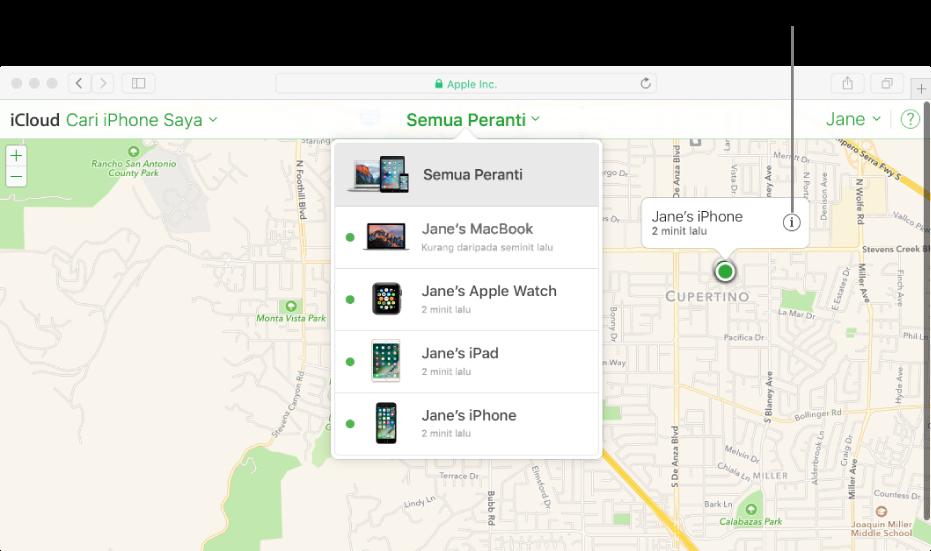 Peta dalam Cari iPhone Saya pada iCloud.com menunjukkan lokasi Mac.