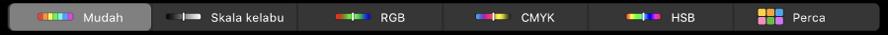 Touch Bar menunjukkan model warna—dari kiri ke kanan—Ringkas, Skala Kelabu, RGB, CMYK dan HSB. Di hujung kanan adalah butang Perca.