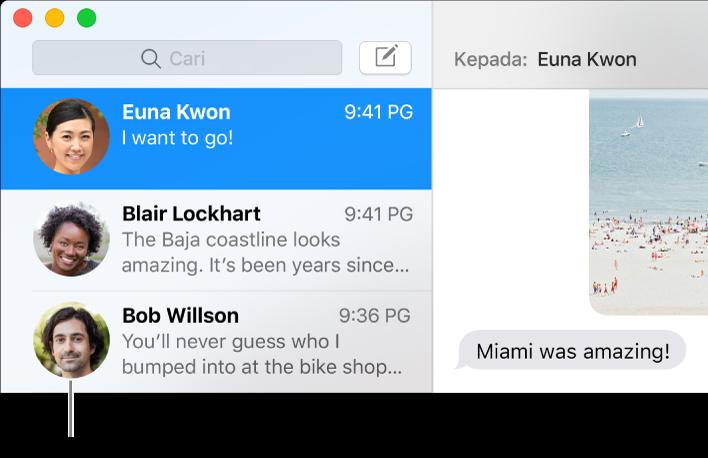 Bar sisi daripada app Mesej menunjukkan gambar orang bersebelahan nama mereka.