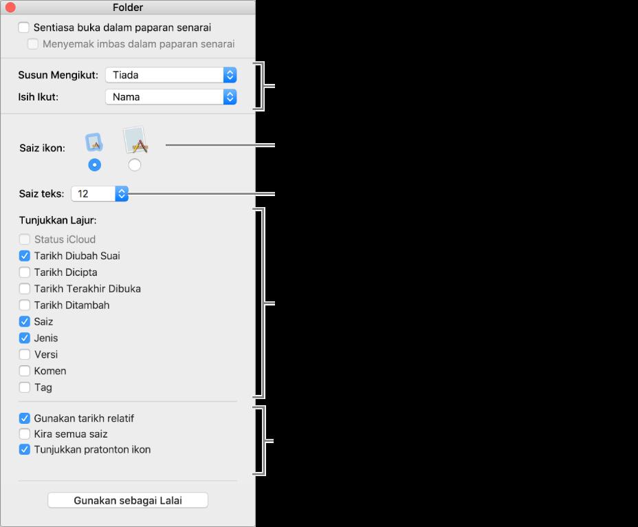 Tetingkap menyenaraikan pilihan paparan Senarai dan Cover Flow.