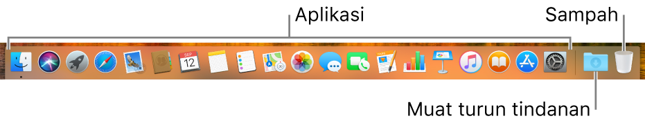 Dock menunjukkan ikon app, ikon tindanan Muat Turun dan ikon Sampah.