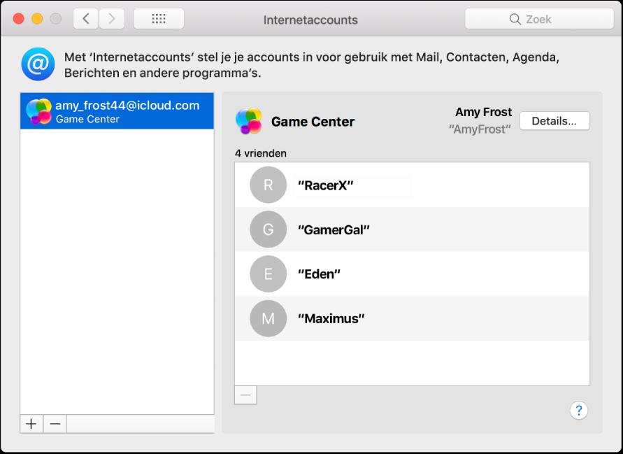 Een Game Center-account in 'Internetaccounts'.