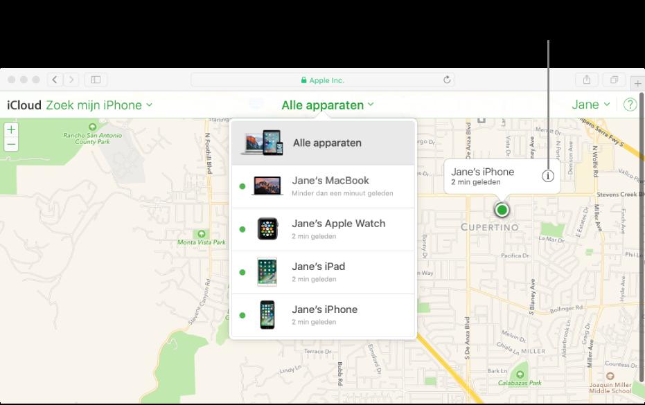 Een kaart in Zoek mijn iPhone op iCloud.com waarop de locatie van een Mac wordt weergegeven.