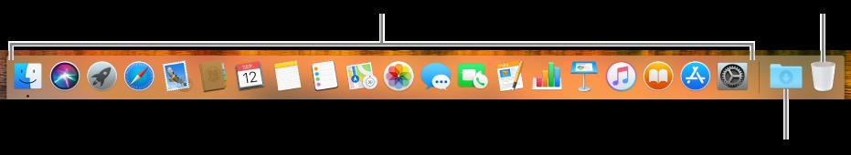 Het Dock met programmasymbolen, het symbool van de stapel 'Downloads' en het Prullenmand-symbool.