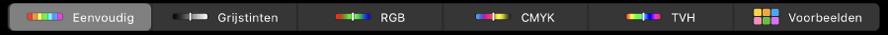 De TouchBar met kleurmodellen. Van links naar rechts 'Eenvoudig', 'Grijstinten', 'RGB', 'CMYK' en 'HSB'. Uiterst rechts zie je de knop 'Voorbeelden'.