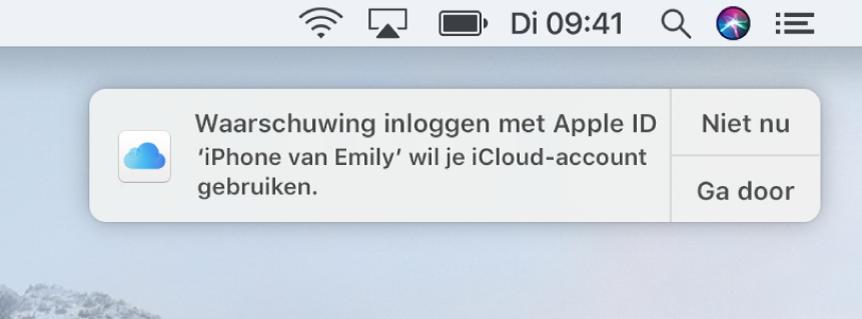 Een melding waarin het apparaat om goedkeuring vraagt voor iCloud-sleutelhanger.