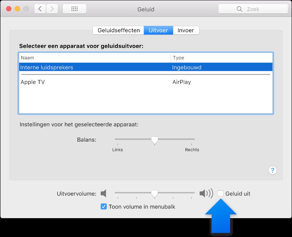 Het aankruisvak 'Uit' onder in het paneel 'Geluid' in Systeemvoorkeuren.
