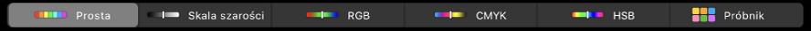 Pasek TouchBar zmodelami kolorów, od lewej do prawej: Prosta, Skala szarości, RGB, CMYK oraz HSB. Na prawym końcu znajduje się przycisk Próbnik.
