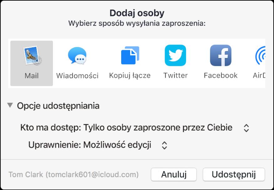 Okno dodawania osób, zawierające aplikacje przy użyciu których można wysyłaćzaproszenia, atakże opcje dotyczące udostępniania dokumentów.