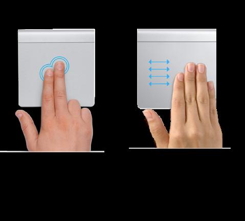 Exemplos de gestos de trackpad para ampliar e reduzir uma página web e para se mover entre apps em tela cheia.