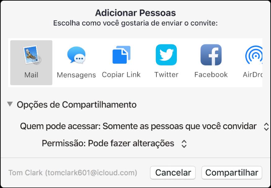 Janela Adicionar Pessoas mostrando apps que você pode usar para fazer convites e as opções para compartilhar documentos.