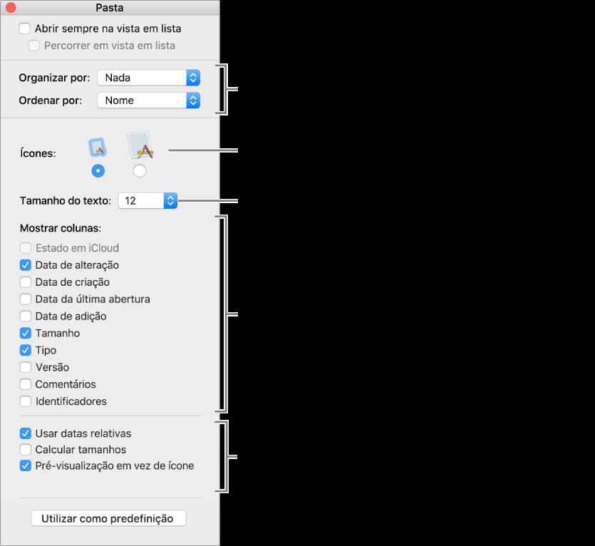 Uma janela que mostra as opções das vistas em lista e em Cover Flow.