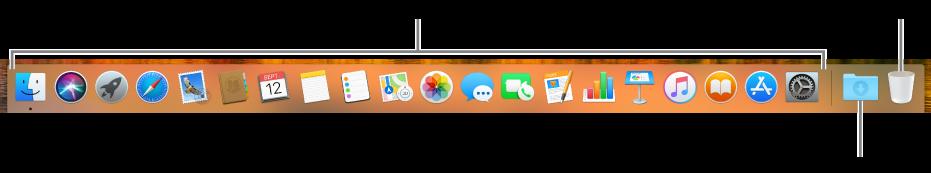 Dockul afișează pictograme ale aplicațiilor, pictograma pentru stiva Descărcări și pictograma pentru Coș.