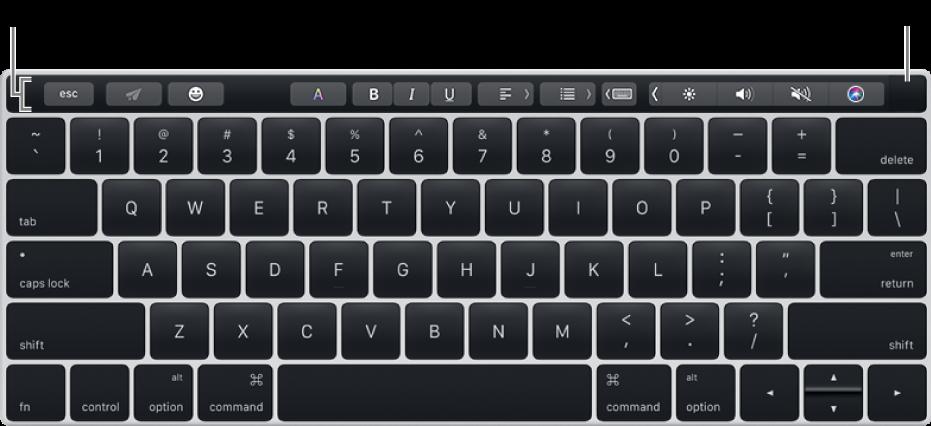 Клавиатура с панелью TouchBar вдоль верхнего края. Сенсор TouchID расположен у правого края панели TouchBar.