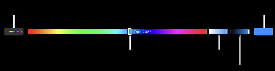 На TouchBar показаны бегунки оттенка, насыщенности и яркости для модели HSB. В левом конце расположена кнопка для отображения всех профилей; справа расположена кнопка для сохранения пользовательского цвета.
