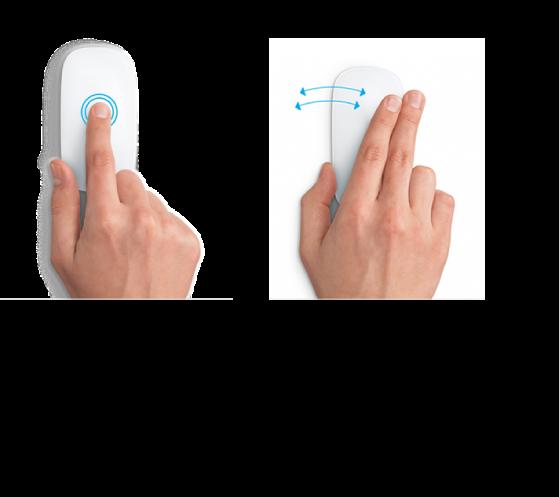 Примеры жестов мыши для увеличения и уменьшения веб-страницы и для переключения между программами, работающими в полноэкранном режиме.