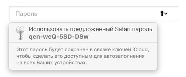 Предложенный пароль в Safari и сообщение о том, что он будет сохранен в Связке ключей iCloud и будет доступен для автозаполнения на всех устройствах пользователя.