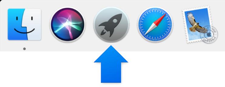 Modrá šípka ukazujúca na ikonu Launchpadu v Docku.