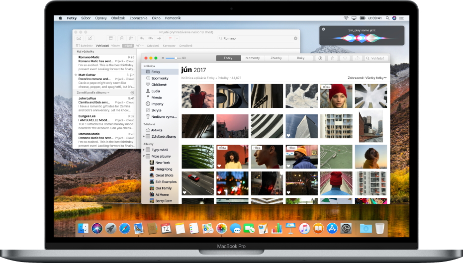 Počítač Mac zobrazujúci otvorené aplikácie na ploche.