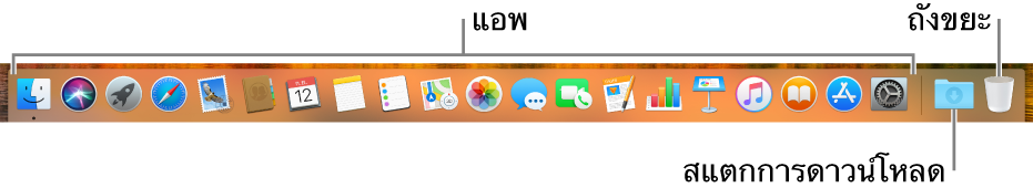 Dock ที่แสดงไอคอนแอพ ไอคอนสแตกรายการดาวน์โหลด และถังขยะ