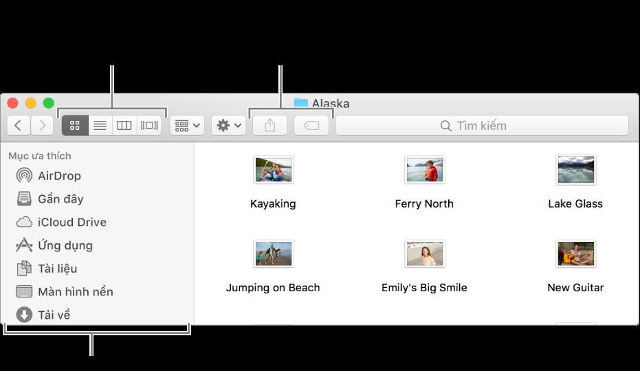 Ví dụ về cửa sổ Finder.