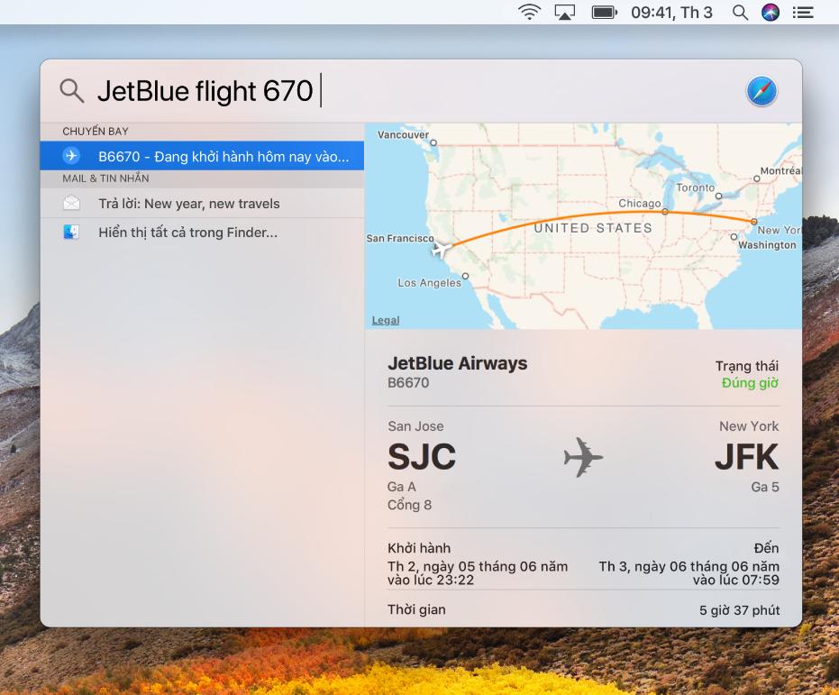 Cửa sổ Spotlight đang hiển thị các kết quả về trạng thái chuyến bay.