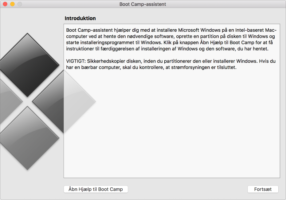 Introduktionsvinduet i Boot Camp viser en knap, som du kan klikke på for at få hjæp og en anden, som du kan klikke på for at fortsætte med installeringen.