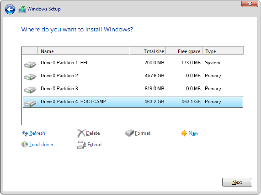 "In Windows Setup, the ""Where do you want to install Windows?"" dialog is open, and the BOOTCAMP partition is selected."