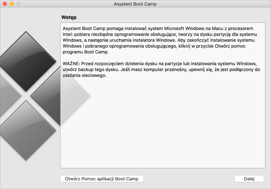 Panel wprowadzający Boot Camp, pokazujący przycisk pozwalający wyświetlić pomoc oraz przycisk pozwalający kontynuować instalację.