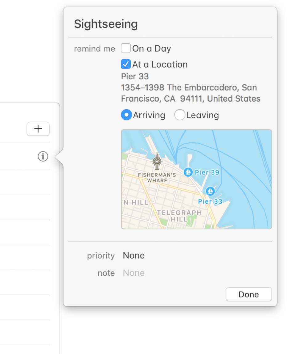 The Info window for a reminder, set up to send a notification alert at a location.