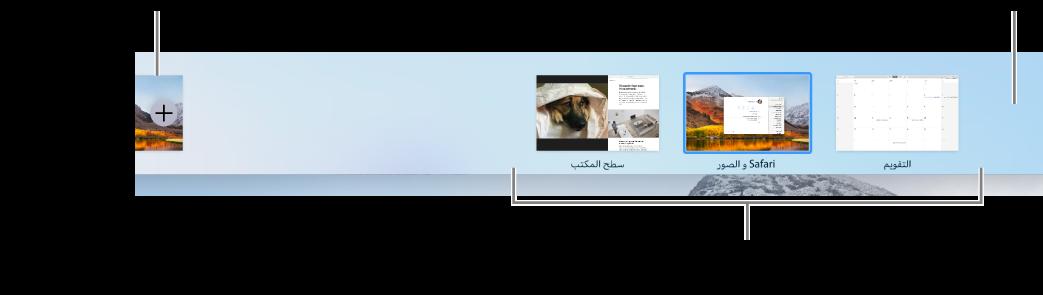 شريط Spaces يعرض مساحة سطح مكتب، تطبيقات في وضع ملء الشاشة وSplit View، والزر إضافة من أجل إنشاء مساحة.
