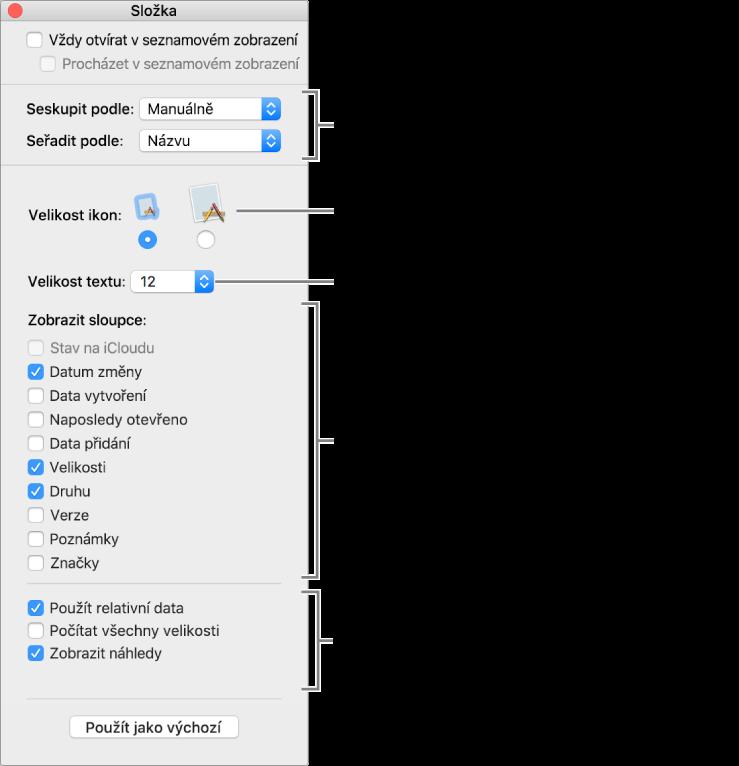Okno se seznamem voleb seznamového zobrazení azobrazení Cover Flow.