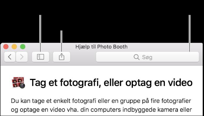 Et hjælpevindue, der viser knappen på værktøjslinjen, man kan klikke på for at få vist flere emner, knappen til deling af et emne og søgefeltet til at søge i hjælpen på din Mac.
