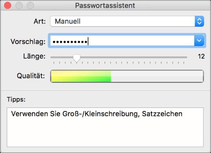 Fenster des Passwortassistenten mit Optionen für das Erstellen eines Passworts