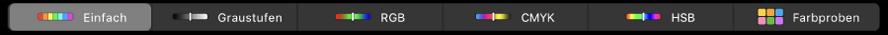 """Die Touch Bar mit den Farbmodellen (von links nach rechts) Einfach, Graustufen, RGB, CMYK und HSB. Rechts befindet sich die Taste """"Farbproben""""."""