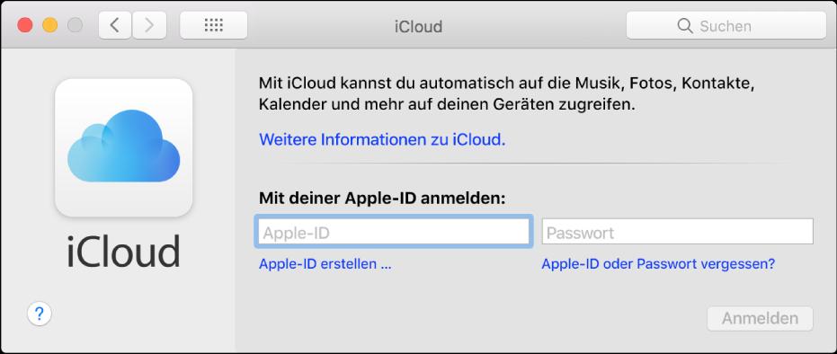iCloud-Einstellungen, in denen du Name und Passwort einer Apple-ID eingeben kannst
