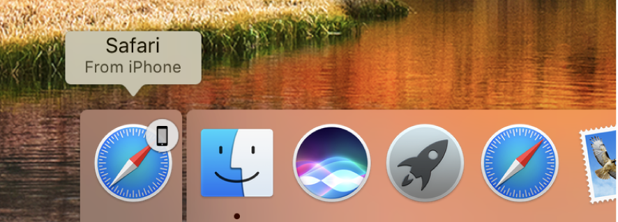 An app's Handoff icon from iPhone at the left side of the Dock.
