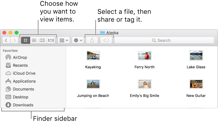 An example of a Finder window.