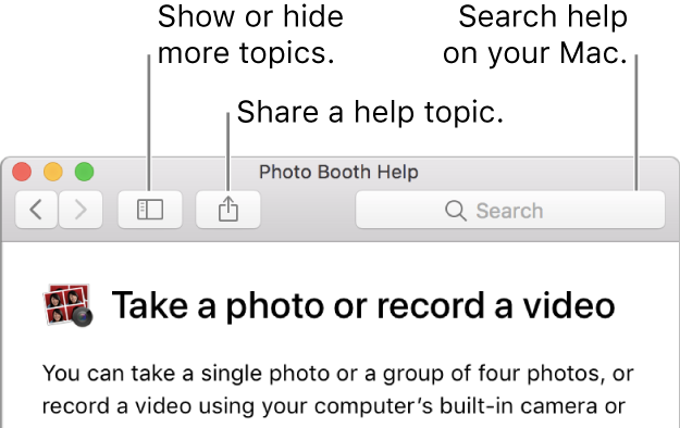 A Help window showing the button in the toolbar to click to show more topics, the button to share a topic, and the search field to search help on your Mac.