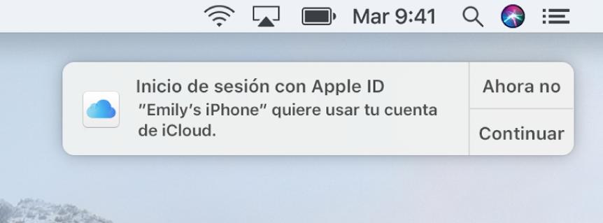 Una notificación del dispositivo que solicita aprobación para el Llavero de iCloud.